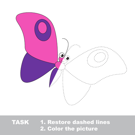 restore: Vector colorful umbrella to be traced. Restore dashed line and color the picture. Worksheet to be colored.