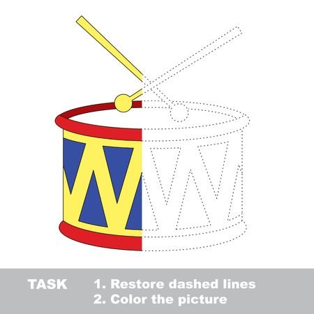 interesting music: Vector colorful umbrella to be traced. Restore dashed line and color the picture. Worksheet to be colored.