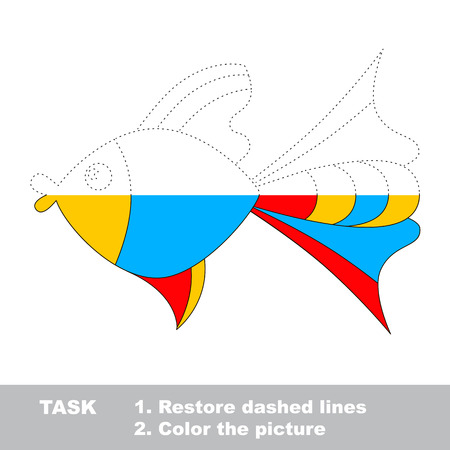 dashed: Vector colorful umbrella to be traced. Restore dashed line and color the picture. Worksheet to be colored.