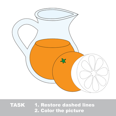 orange juice: Vector colorful umbrella to be traced. Restore dashed line and color the picture. Worksheet to be colored.