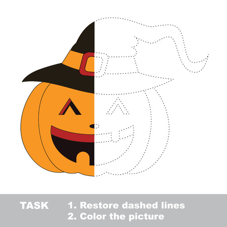 color page: Vector colorful umbrella to be traced. Restore dashed line and color the picture. Worksheet to be colored.