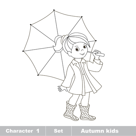 little girls: Vector cartoon character playing baby. Vector autumn girl with umbrella. Outdoor game for children. Page to be colored. Illustration