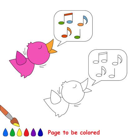 ruiseñor: Vector de dibujos animados ruiseñor a ser de color. Libro de colorante para los niños.