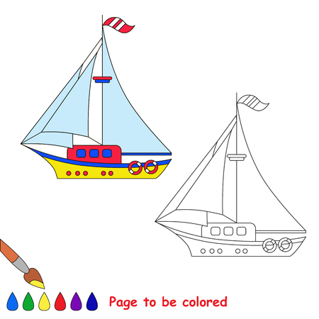 toy boat: Vector cartoon toy boat to be colored. Coloring book for children. Illustration
