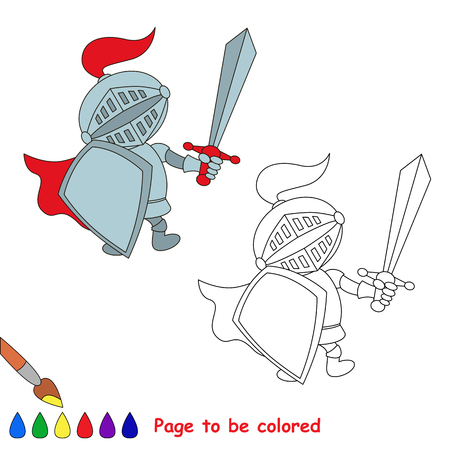 cartoon knight: Vector cartoon knight to be colored. Coloring book for children. Illustration