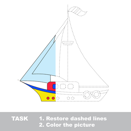 dashed line: Vector colorful Boat to be traced. Restore dashed line and color the picture. Worksheet to be colored. Illustration