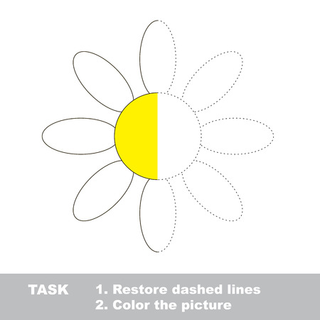 dashed: Vector colorful Camomile to be traced. Restore dashed line and color the picture. Worksheet to be colored.