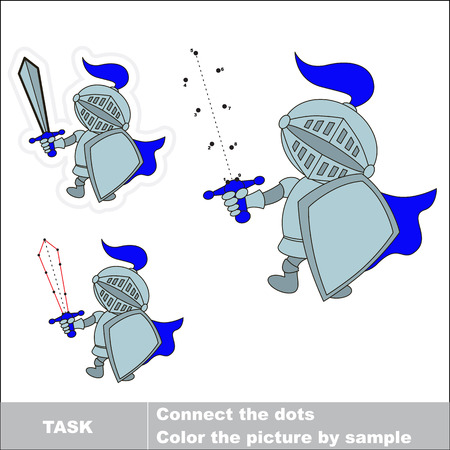 education cartoon: Vector Knight to be traced by numbers. Dot to dot game. Connect dots for numbers.