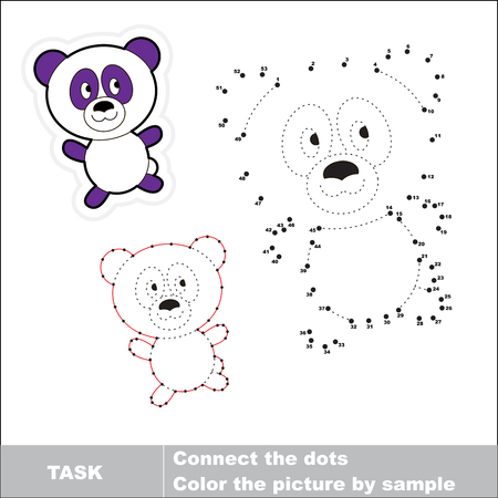 book pages: Vector Panda to be traced by numbers. Dot to dot game. Connect dots for numbers.