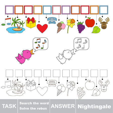 solve: Vector rebus game. Solve the rebus and find the word Nightingale. Task and answer.