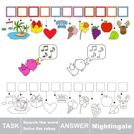 ruiseñor: Vector rebus juego. Resolver el acertijo y encontrar la palabra Nightingale. Tarea y respuesta. Vectores