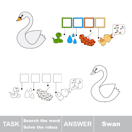 swan: Vector rebus game. Solve the rebus and find the word Swan. Task and answer.