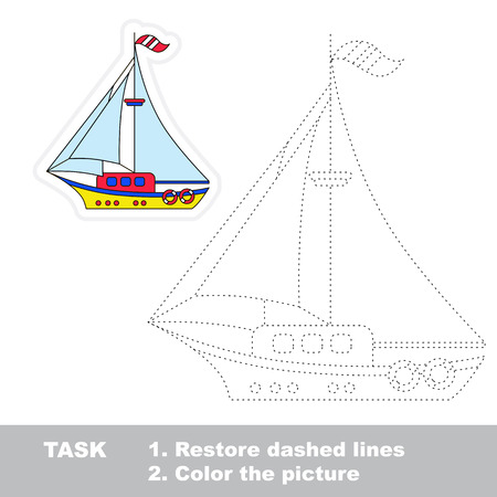 restore: Vector Boat to be traced. Restore dashed line and color the picture. Illustration
