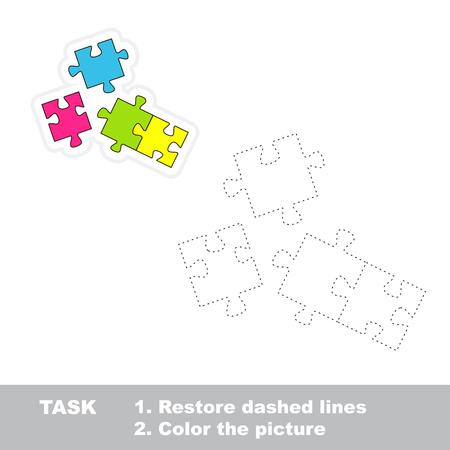 restore: Vector Puzzle to be traced. Restore dashed line and color the picture.