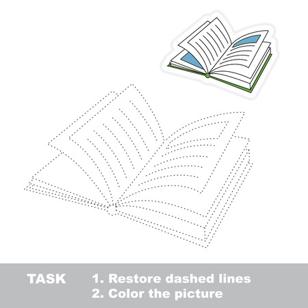 restore: Vector Book to be traced. Restore dashed line and color the picture.