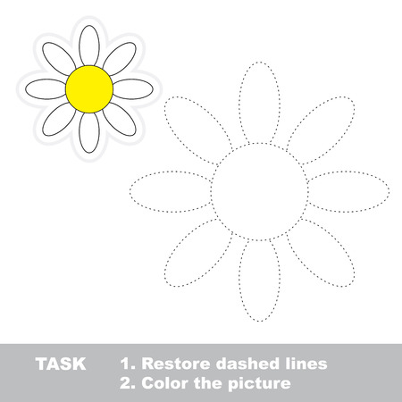 restore: Vector Camomile to be traced. Restore dashed line and color the picture. Illustration