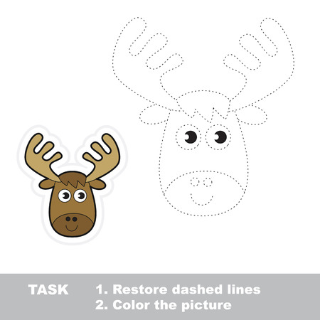 restore: Vector Elk to be traced. Restore dashed line and color the picture.