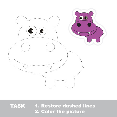 restore: Vector Hippo to be traced. Restore dashed line and color the picture.