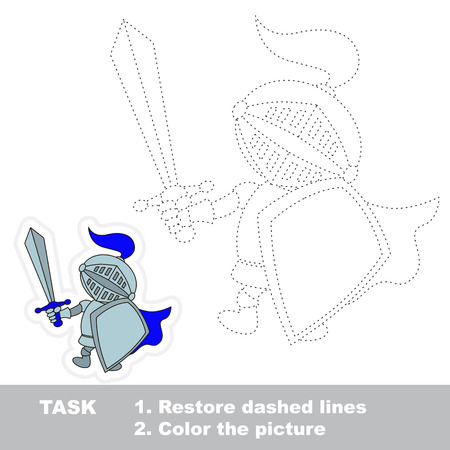 restore: Vector Knight to be traced. Restore dashed line and color the picture.