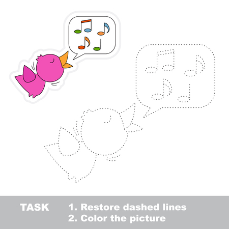 dashed line: Vector Nightingale to be traced. Restore dashed line and color the picture. Illustration