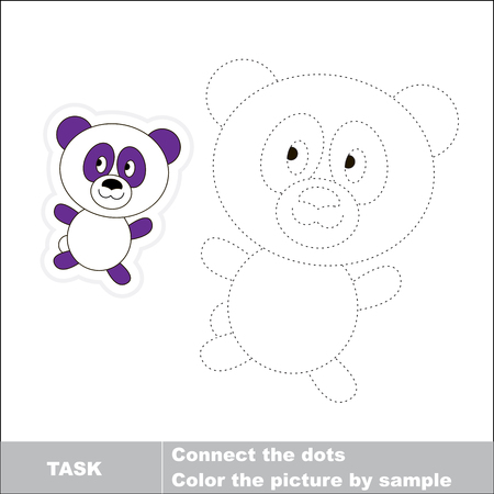 restore: Vector Panda to be traced. Restore dashed line and color the picture. Illustration