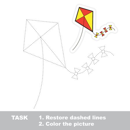 restore: Vector toy kite to be traced. Restore dashed line and color the picture.