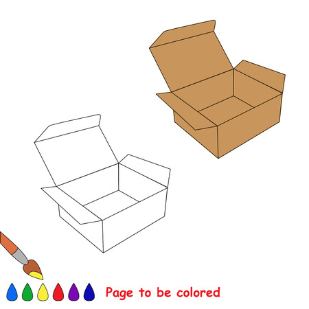 unbuttoned: Vector cartoon brown opened empty box to be colored. Coloring book for children. Illustration