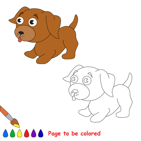 animal tongue: Vector cartoon little dog to be colored. Coloring book for children.