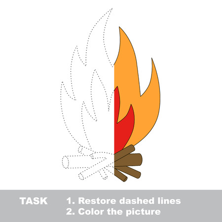 traced: Vector colorful bonfire to be traced. Restore dashed line and color the picture. Worksheet to be colored.