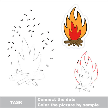 traced: Vector bonfire to be traced by numbers. Dot to dot game. Connect dots for numbers. Illustration