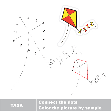 kite: Vector toy kite to be traced by numbers. Dot to dot game. Connect dots for numbers.