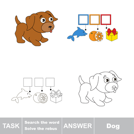 task: Vector rebus game. Solve the rebus and find the word dog. Task and answer. Illustration
