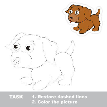 restore: Vector little dog to be traced. Restore dashed line and color the picture. Illustration