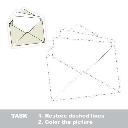 restore: Vector paper envelope to be traced. Restore dashed line and color the picture. Illustration