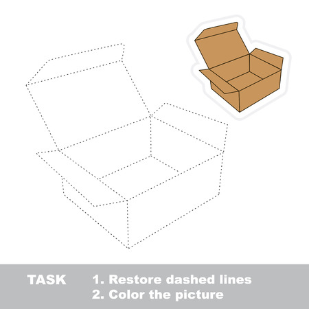 restore: Vector brown opened empty box to be traced. Restore dashed line and color the picture. Illustration