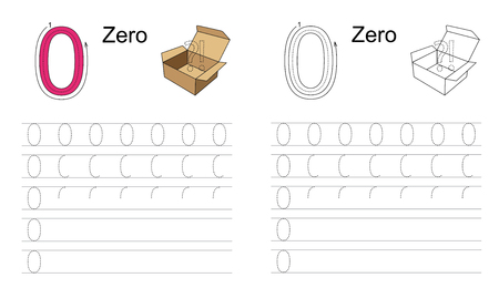 tracing: Vector exercise illustrated alphabet. Learn handwriting. Tracing worksheet for figure zero. Illustration