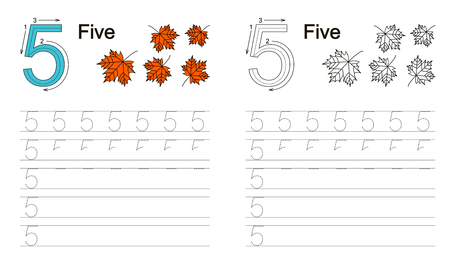 figure: Vector exercise illustrated alphabet. Learn handwriting. Page to be colored. Tracing worksheet for figure five Illustration