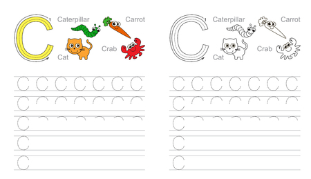 illustrated: Vector exercise illustrated alphabet. Learn handwriting. Tracing worksheet for letter C.