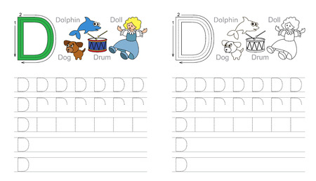 illustrated: Vector exercise illustrated alphabet. Learn handwriting. Page to be colored. Tracing worksheet for letter D