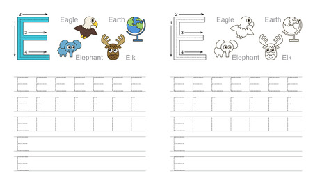 illustrated: Vector exercise illustrated alphabet. Learn handwriting. Page to be colored. Tracing worksheet for letter E