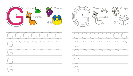 g giraffe: Vector exercise illustrated alphabet. Learn handwriting. Page to be colored. Tracing worksheet for letter G Illustration