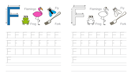 Vector exercise illustrated alphabet. Learn handwriting. Page to be colored. Tracing worksheet for letter F Illustration
