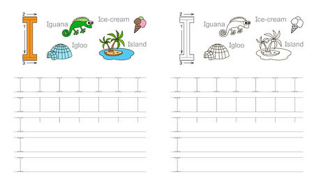 Vector exercise illustrated alphabet. Learn handwriting. Page to be colored. Tracing worksheet for letter I Ilustração