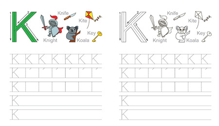 handwriting: Vector exercise illustrated alphabet. Learn handwriting. Page to be colored. Tracing worksheet for letter K