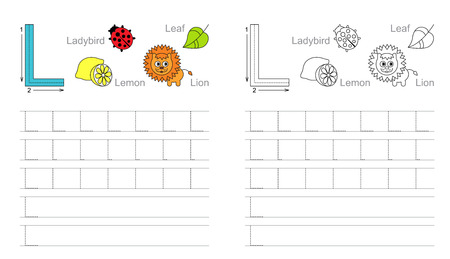 illustrated: Vector exercise illustrated alphabet. Learn handwriting. Page to be colored. Tracing worksheet for letter L