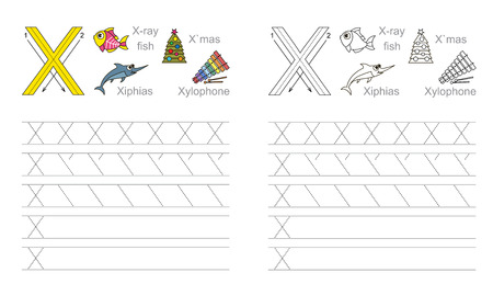 illustrated: Vector exercise illustrated alphabet. Learn handwriting. Page to be colored. Tracing worksheet for letter X