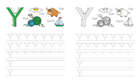 yak: Vector exercise illustrated alphabet. Learn handwriting. Page to be colored. Tracing worksheet for letter Y