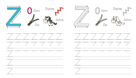 handwriting: Vector exercise illustrated alphabet. Learn handwriting. Page to be colored. Tracing worksheet for letter Z