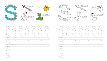 Vector exercise illustrated alphabet. Learn handwriting. Page to be colored. Tracing worksheet for letter S