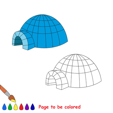 igloo: Igloo vector cartoon to be colored. Coloring book for children.